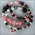 Pink & Black Licorice Bead Necklace