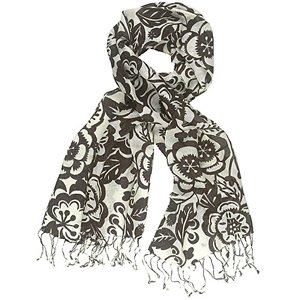 Chocolate Floral Woven Scarf