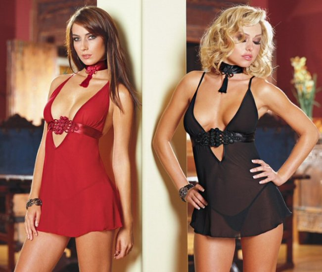 NEW 3 Piece Babydoll Set with Satin Waistband and Knotted Applique - Plus Size