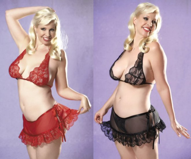 NEW 2 Piece plus Size Lace Bra and Skirt Set - Plus Size