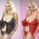 NEW 2 Piece Plus Size Lace Babydoll Set - Plus Size