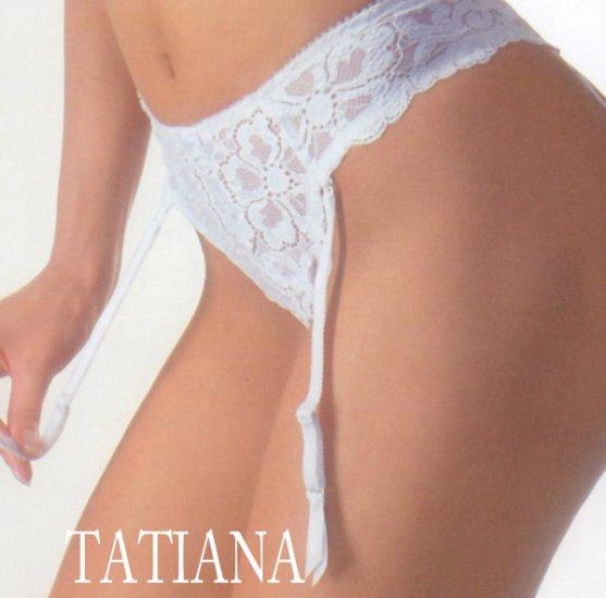 NEW NEVA- high cut lace thong w/ garter belts by Tatiana - Black