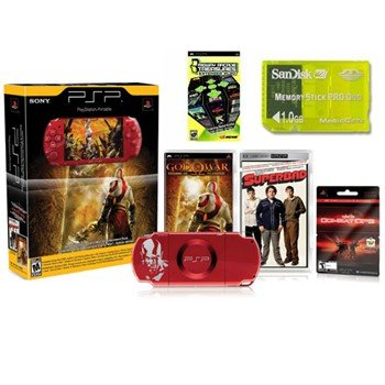 """NEW PlayStation Portable Limited Edition """"Red"""" God of War Entertainment Pack with 21 Games and more"""