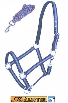McAlister Padded Adjustable Nylon Halter W/ Matching Lead