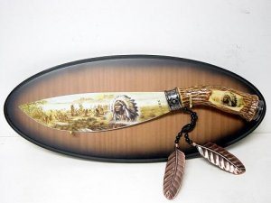 Native American Hand Painted Knife w/ Plaque KS5802I Free Shipping