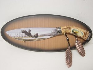 Wild Life Eagles Hand Painted Blade w/ Plaque KS-5802E Free Shipping