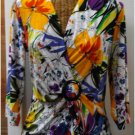 Multi colored floral print jersey top