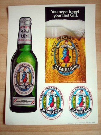 4 Vintage St Pauli Girl Beer Stickers New Mint 1983