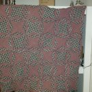 Country Star Rag Quilt Throw, Navy and Burgndy, Handcrafted