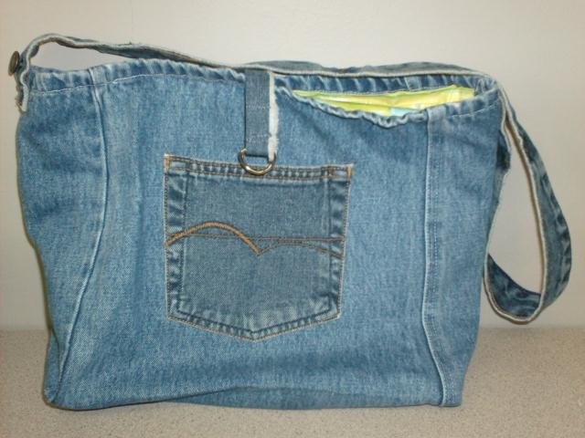 Recycled Denim Tote with Quilted lining, Handmade