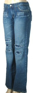 LJ 777 - Junior Worn Look Stretch Jeans with Frayed Hems & Patches
