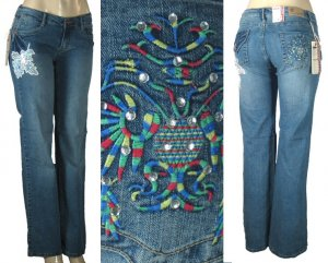 LJ 777 - Junior Worn Look Riveted Stretch Jeans