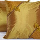 "Asian Buttons Pillow Cushion Cover 19"" Dark Gold"