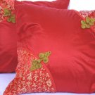 "Asian Buttons PillowCushion Cover 19"" Red"