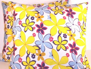"Florals Cotton Pillow Cushion Cover 19"" Yellow/Blue"