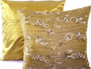 "Beaded Sequins Sofa Pillow Cushion Covers 24"" Mustard Gold"