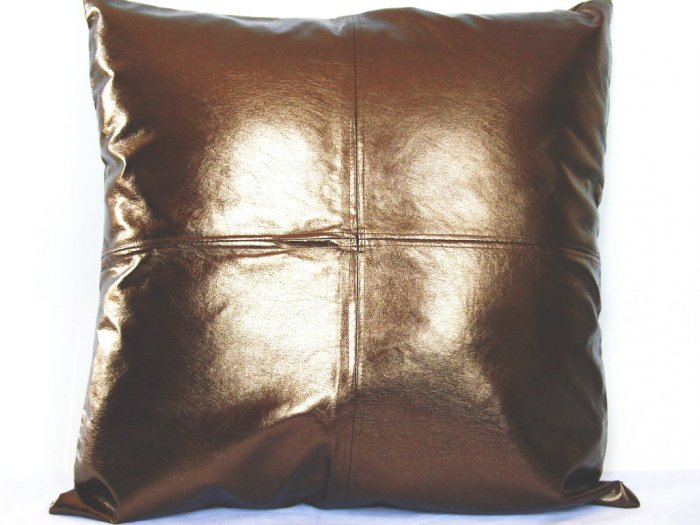 """Metallic Faux Leather Pillow Cushion Cover 24"""" Brown"""