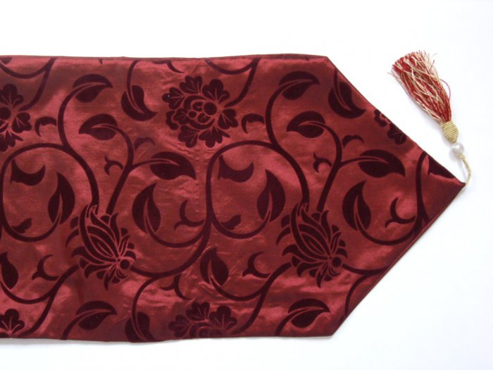 "Floral Leaves Table Runner 71"" Burgundy"