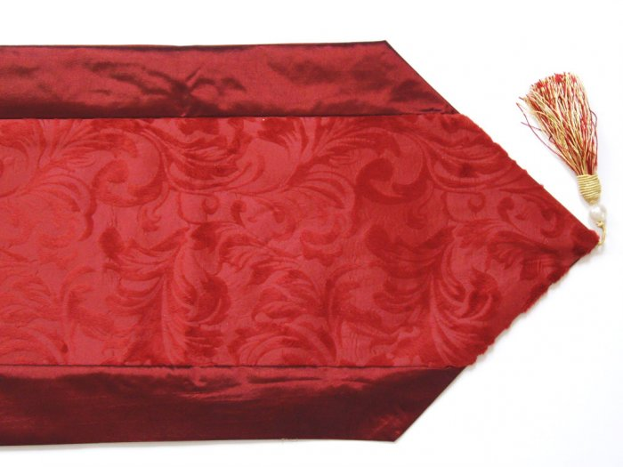 Velvet-Like Floral Leaves Table Runner Burgundy Red