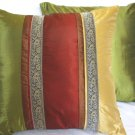 "Trio Stripe w/ Trim Cushion Cover 20"" Gold/Burgundy/Green"
