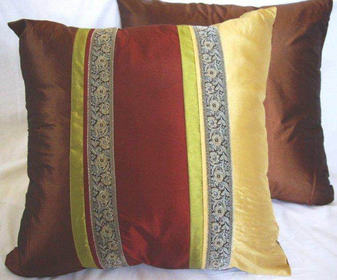"Trio Stripe w/ Trim Cushion Cover 20"" Gold/Burgundy/Brown"