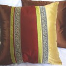 "Trio Stripe w/ Trim Cushion Cover 20"" Gold/Burgundy/Brown"