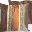 """Trio Stripe w/ Trim Cushion Cover 20"""" Copper/Bronze/Brown"""