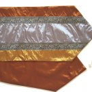 "Trio-Stripe w/ trim Table Runner 71"" Gold/Silver//Bronze"