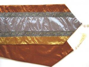 """Trio-Stripe w/ trim Table Runner 71"""" Gold/Silver//Bronze"""