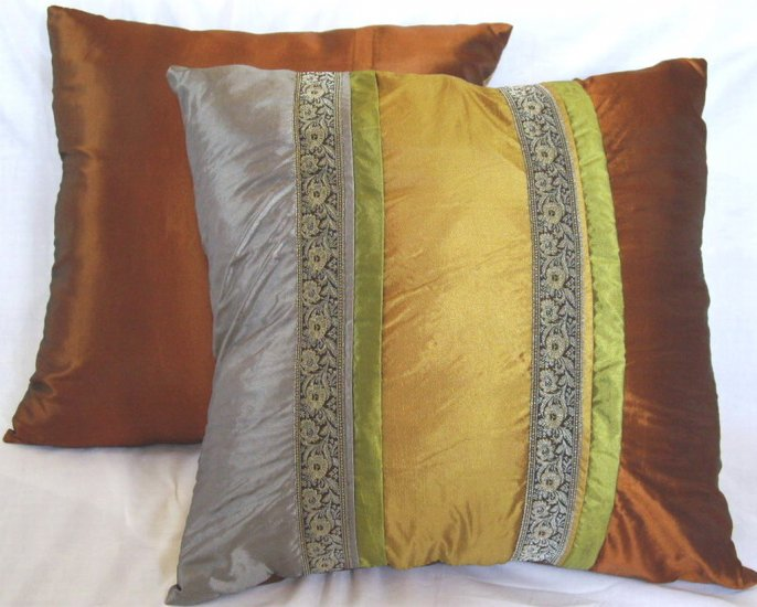 "Trio Stripe w/ Trim Cushion Cover 20"" Silver/Gold/Bronze"