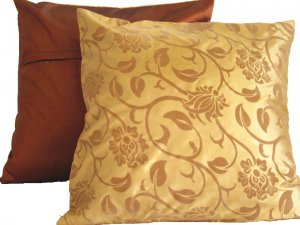 "Floral Leaves Pillow Cushion Cover 19"" Gold/Bronze"
