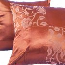 "Quad FloralLeaves Pillow Cushion Cover 20"" Bronze"