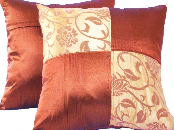 "Quad 2-tone Pillow Cushion Cover 20"" Gold/Bronze"