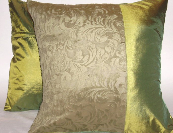 """Duo Toile Pillow Cushion Cover 20"""" Olive Green"""