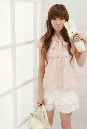 Pink Dot Chiffon Upwear/ Blouse (Free Shipping Worldwide)