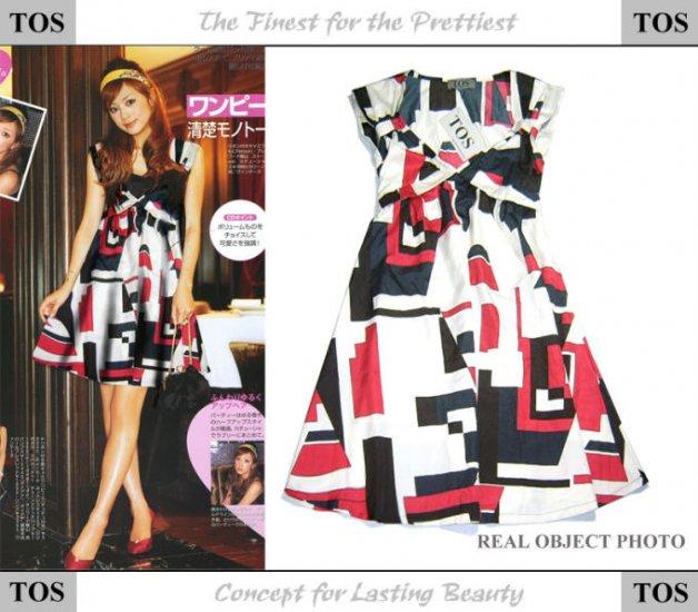 Geometrical Elegant Red Medium Length Dress