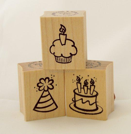 Birthday Rubber Stamp Trio