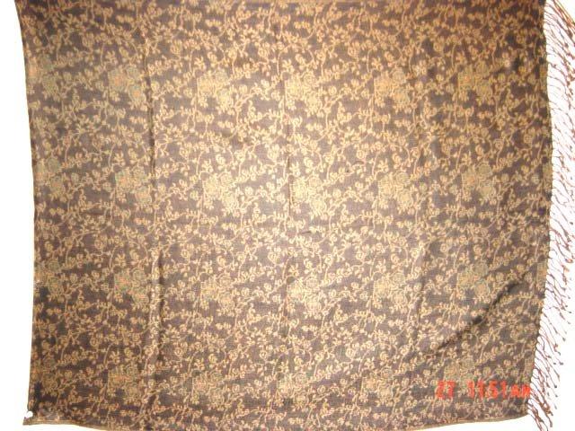 BLACK GREEN BROWN BASE FLOWER THROW GIFT PASHMINA