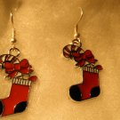 Christmas Bowknot Stocking Pendants Earrings