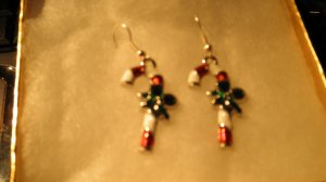 Candy Cane Christmas Bead Pendant Earrings