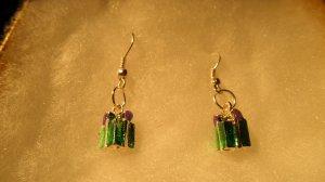 Silver Plated Enamel XMAS Gift Box Pendandts Earrings
