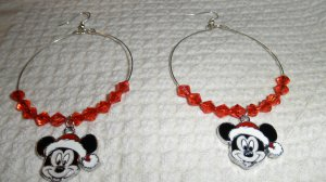 Memory Wire Christmas Micky Mouse Pendant Earrings