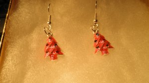 Red & Purple Enamel Crystal Christmas Tree Pendant Earrings