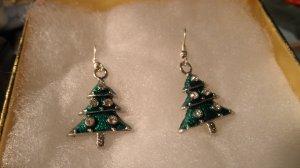 Christmas Tree Enamel Charms Dangle Pendant Earrings