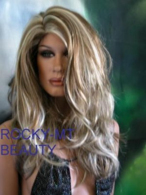 BROWN BLOND HIGHLIGHTED DREAM WIG . SKIN TOP