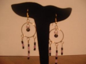 Purple and Black Beaded Dangle Hoops