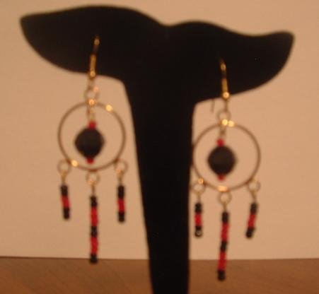 Red and Black Dangle Hoops