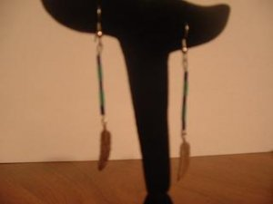 Blue and Green Feather Dangle