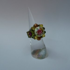 Back to Nature Rustic Olive and Pearl Ring (RG002)