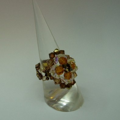Smokey Topaz Flower Crystal Ring (RG001)